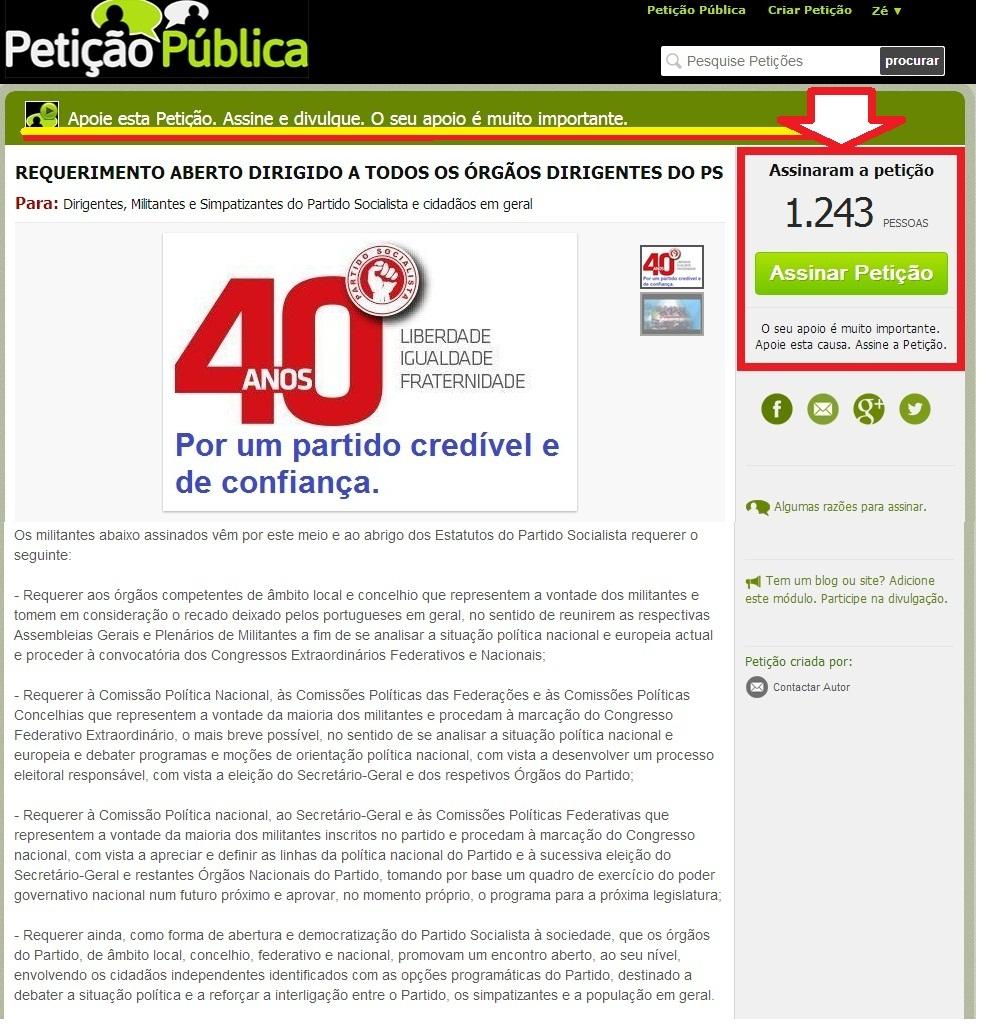 petição eleições partido socialista congresso nacional do ps