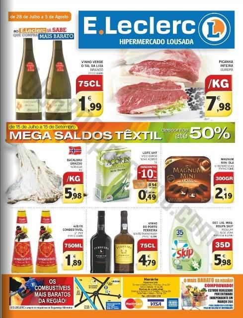 Antevisão Folheto E-LECLERC Lousada Promoções de 28 julho a 5 agosto