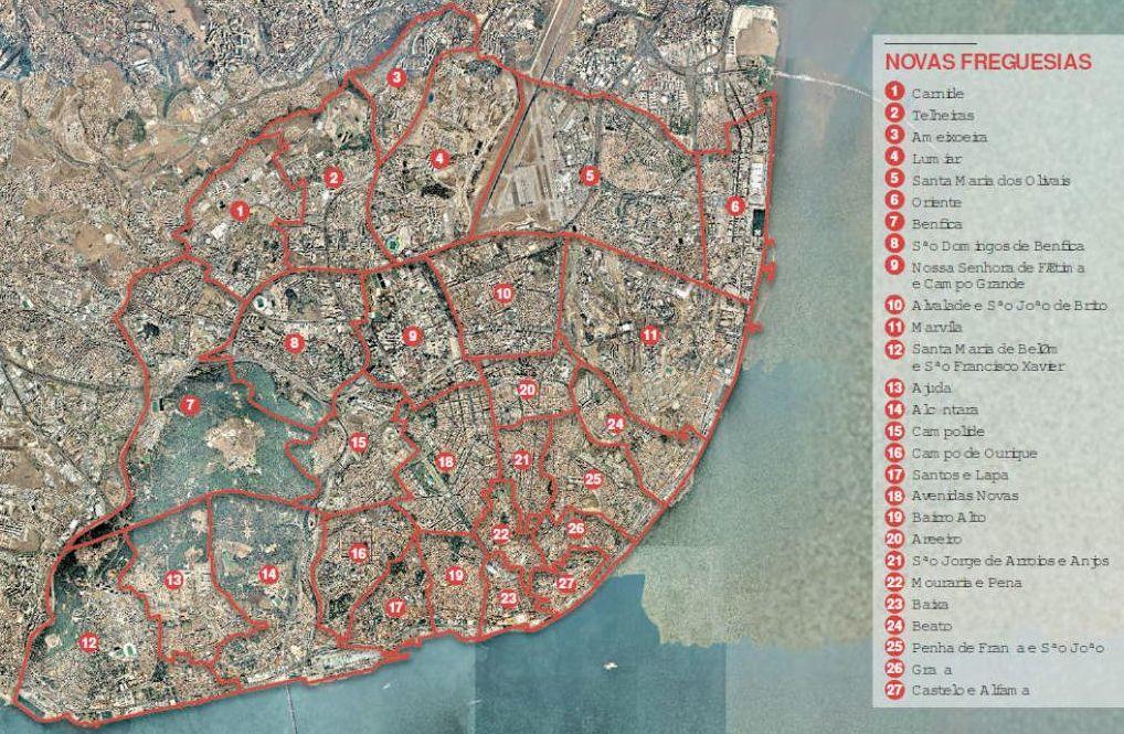novo mapa freguesias NOVO MAPA DAS FREGUESIAS LISBOETA   LUMINÁRIA novo mapa freguesias