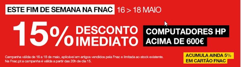 15% de desconto imediato | FNAC | de 16 a 18 maio