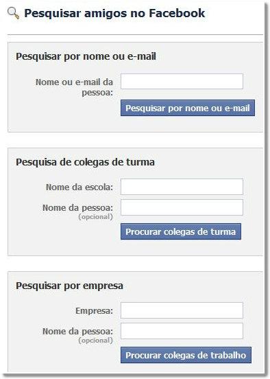 procurar pessoas no facebook