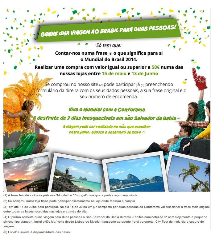 Passatempo | CONFORAMA | - Ganha uma viagem ao Brasil para duas pessoas