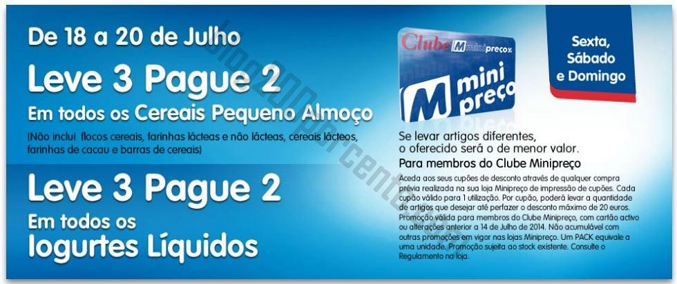 Leve 3 Pague 2 MINIPREÇO de 18 a 20 julho - Cereais e Iogurtes Líquidos