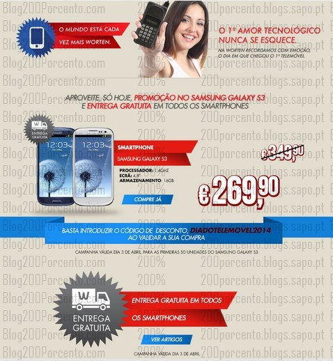 Promoção | WORTEN | só hoje Samsung Galaxy 3