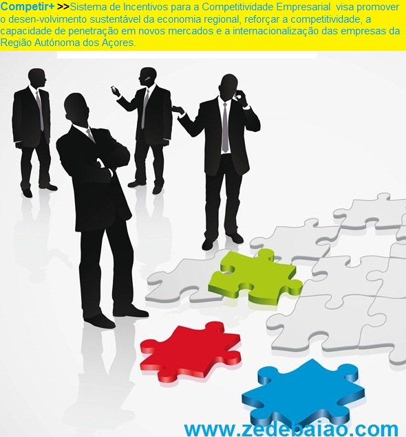 Competir + Sistema de Incentivos para  a Competitividade Empresarial, adiante designado por  Competir+, que visa promover o desenvolvimento sustentável da economia regional, reforçar a competitividade, a  capacidade de penetração em novos mercados e a internacionalização das empresas regionais, assim como alargar  a base económica de exportação da Região Autónoma  dos Açores.