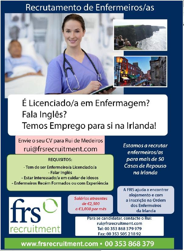 recrutamento de enfermeiros para a Irlanda Inglaterra