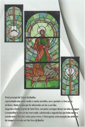 Vitral do padroeiro S. Gens, colocado na fachada da Igreja Matriz e oferecido pela Comissão de Festas a S. Gens e N.ª Sr.ª do Rosário 2011