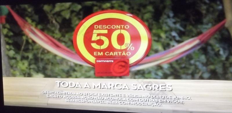 Avistamento 50% CONTINENTE toda a marca Sagres - amanhã dia 12 junho