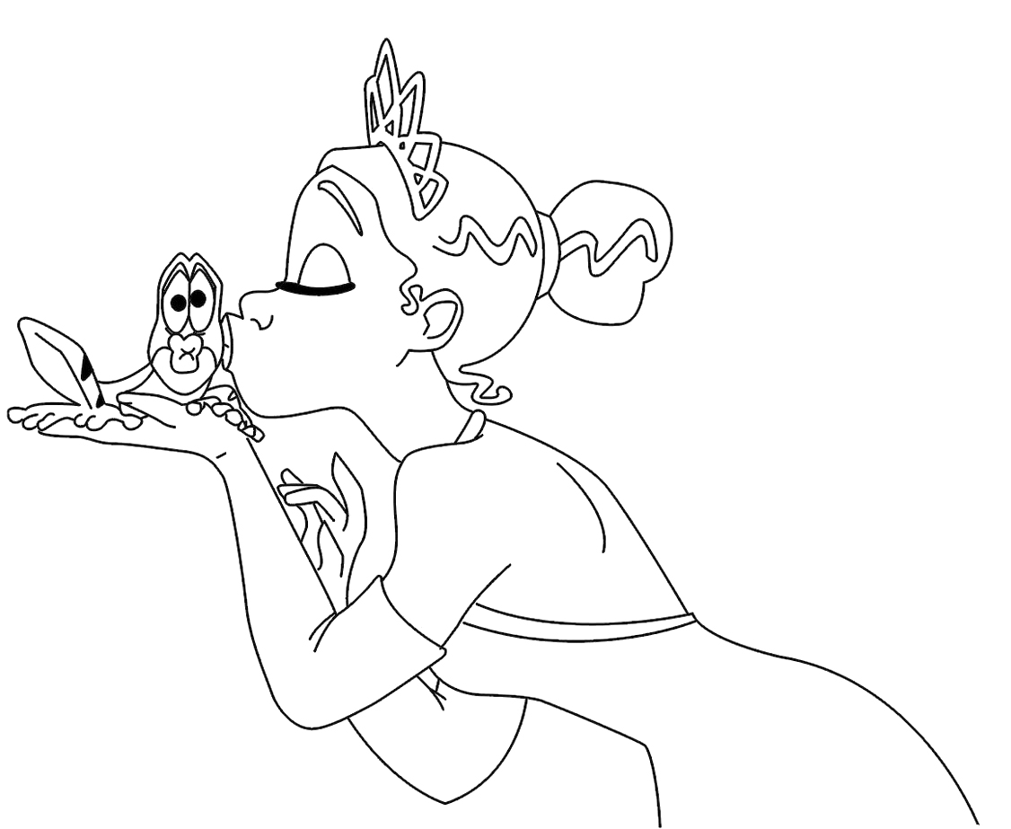 Dibujo De Tiana Y El Sapo Tiana Para Colorear: Pinta A Princesa E O Seu Príncipe Sapo # 3