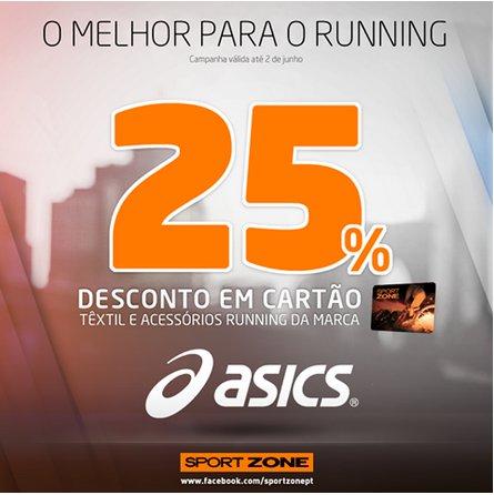 25% de desconto   SPORT ZONE   Asics