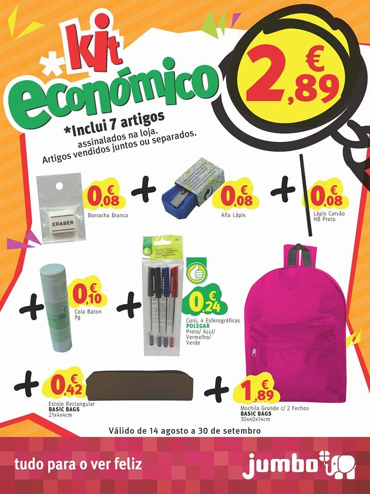 Kit Escolar JUMBO promoção de 14 agosto a 30 setembro
