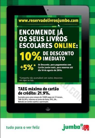 10%+5%* de desconto JUMBO livros escolares até 10 agosto