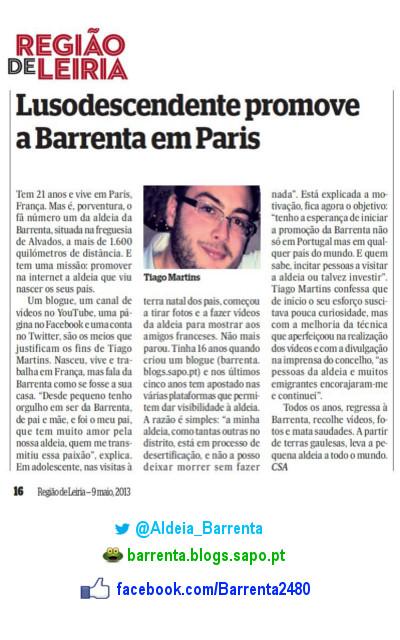 Artigo do Jornal Região de Leiria