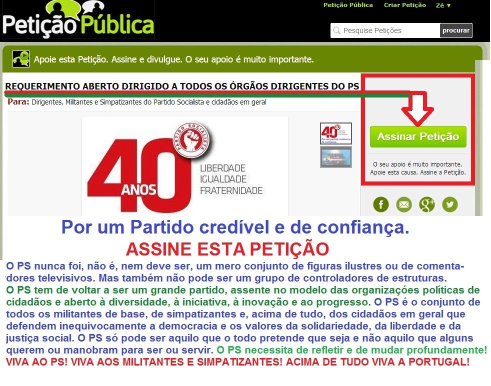 Petição, António Costa, partido Socialista, eleições PS, José Seguro, José Luís carneiro