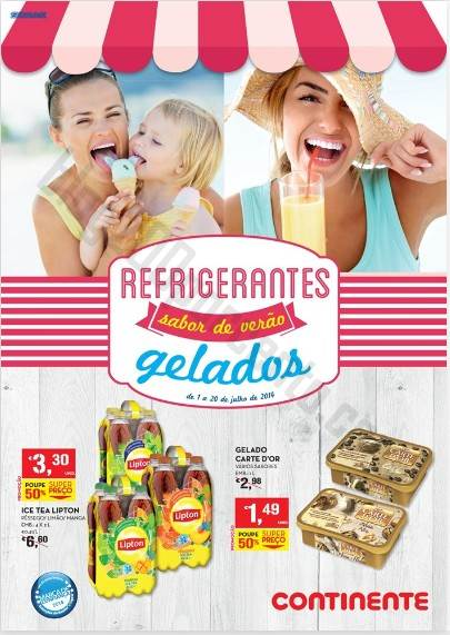 Novo Folheto Promoções CONTINENTE Refrigerantes e Gelados - 1 a 20 julho