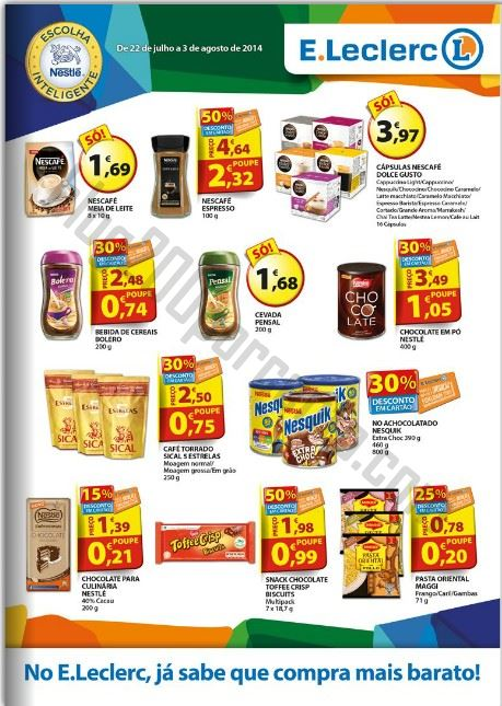 Antevisão Folheto E-LECLERC Nestlé de 22 julho a 3 agosto