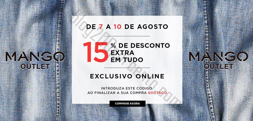 15% de desconto extra MANGO OUTLET de 7 a 10 agosto apenas online