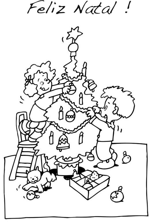 Desenhos De Crianças A Montar Arvore De Natal Para Colorir