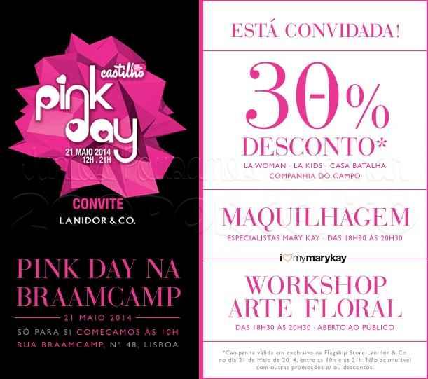 Pink Day 30% desconto | LANIDOR | dia 21 maio das 10:00h às 21:00h