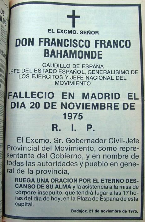 Badajoz 21 de noviembre 1975 -funeral por Franco e