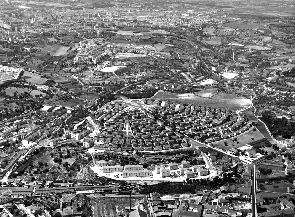 Vista aérea do B.º da Madre de Deus a Alvalade, Lisboa (M. Oliveira, 1955)
